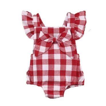 Red Plaid Romper - The Trendy Toddlers