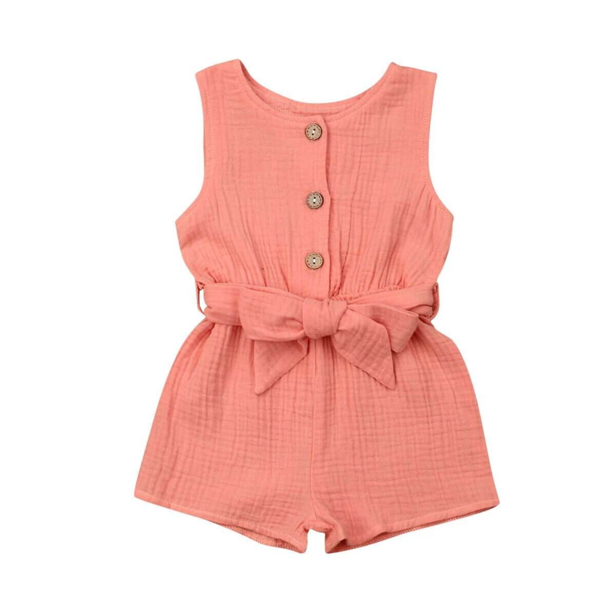Coral Sleeveless Romper - The Trendy Toddlers