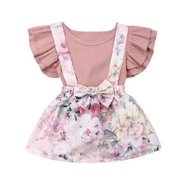 Floral Bow Skirt Set - The Trendy Toddlers