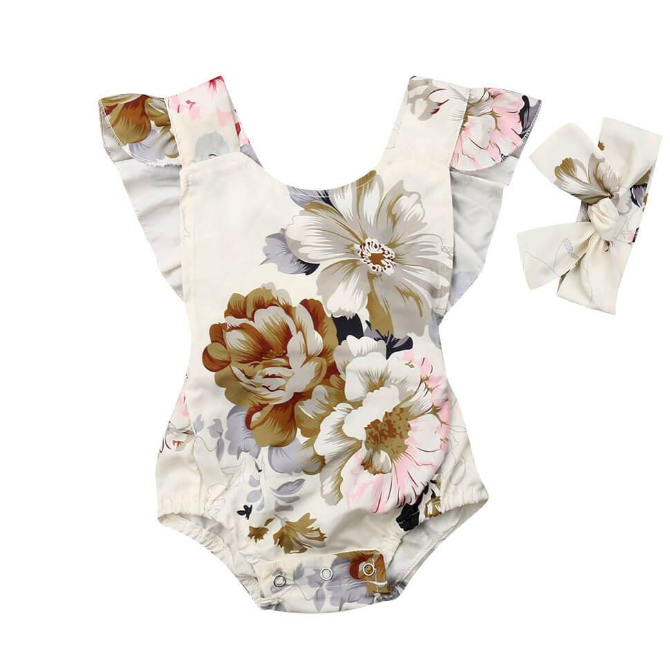 White Floral Romper - The Trendy Toddlers