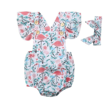 Flamingo Ruffled Romper - The Trendy Toddlers