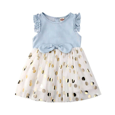 Denim Polka Dot Dress - The Trendy Toddlers