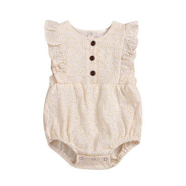 Crochet Cream Ruffled Romper - The Trendy Toddlers