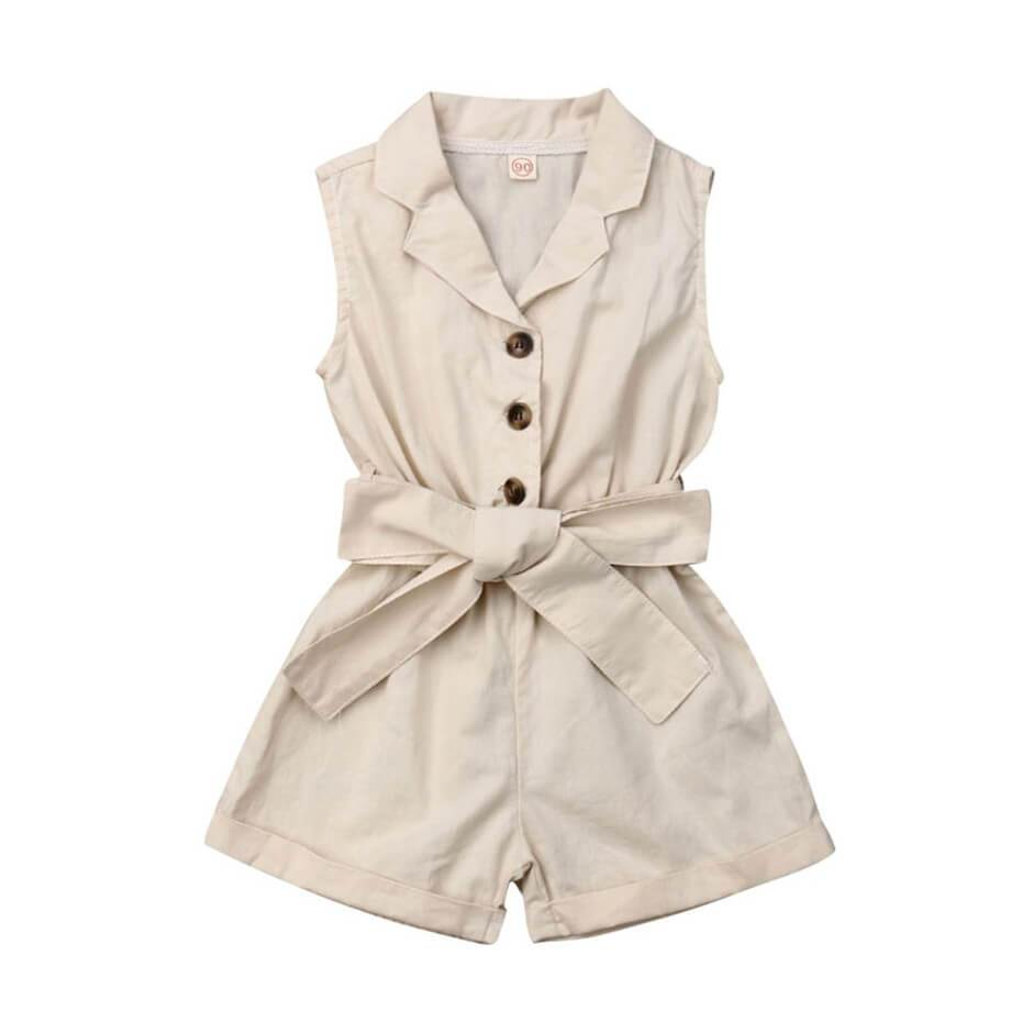 Button Down Collar Romper - The Trendy Toddlers