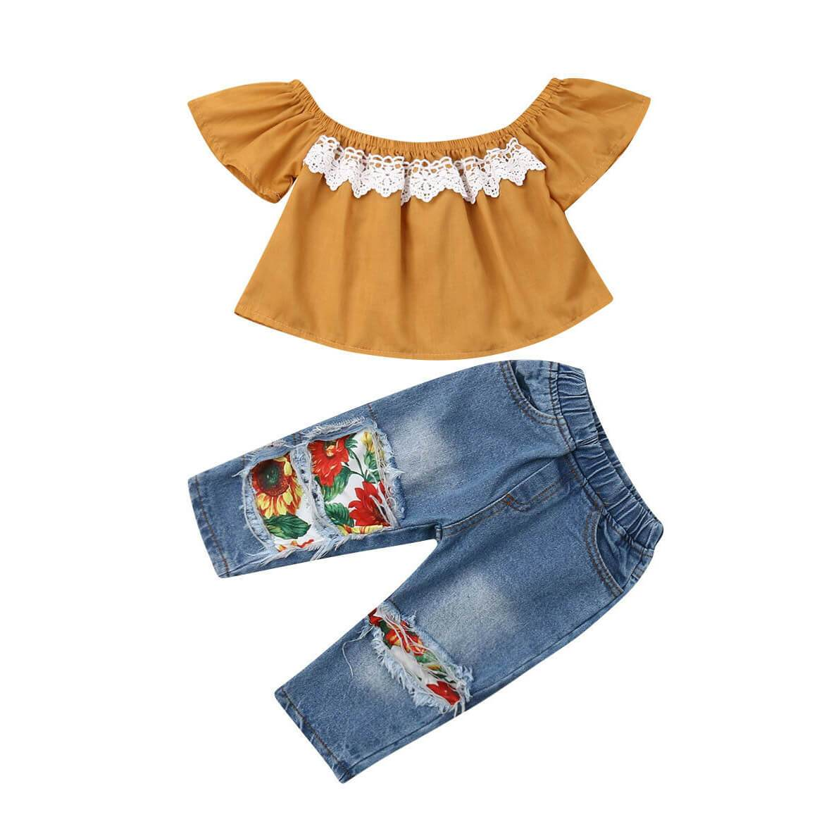Floral Jean Set - The Trendy Toddlers