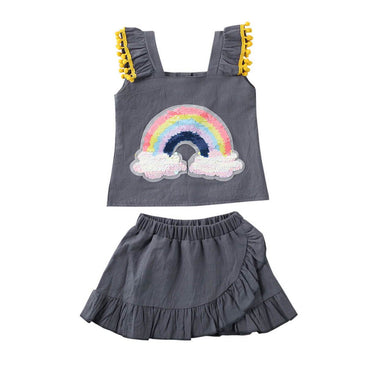 Rainbow Ruffled Skirt Set - The Trendy Toddlers