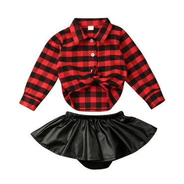 Black Leather Skirt Set - The Trendy Toddlers