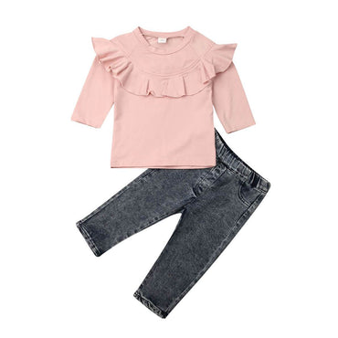 Pink Ruffled Denim Set