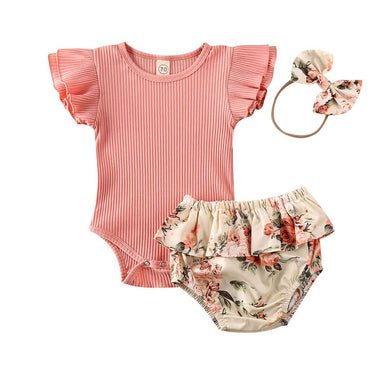 Pink Ribbed Floral Set - The Trendy Toddlers