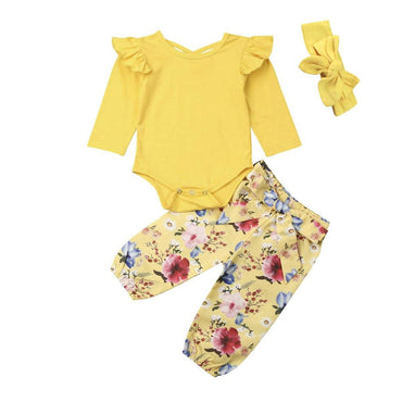 Yellow Floral Ruffled Set