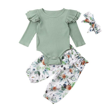 Ribbed Flutter Floral Set