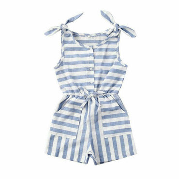 Striped Blue Romper - The Trendy Toddlers