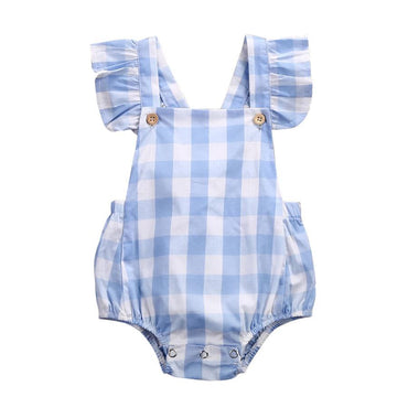 Blue Plaid Romper - The Trendy Toddlers