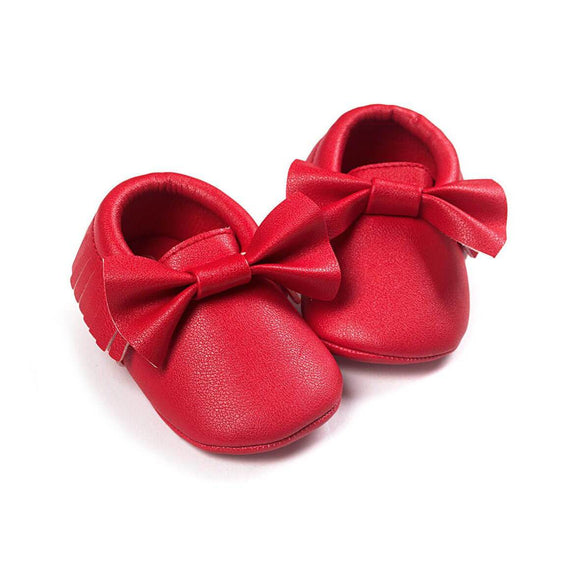Red Tassel Bow Moccasins