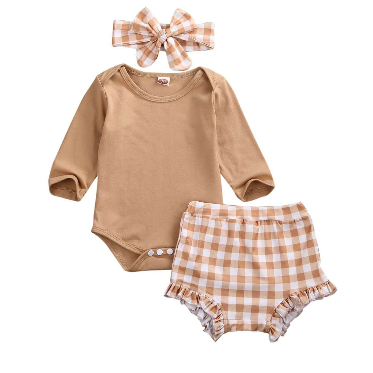 Plaid Tan Set - The Trendy Toddlers