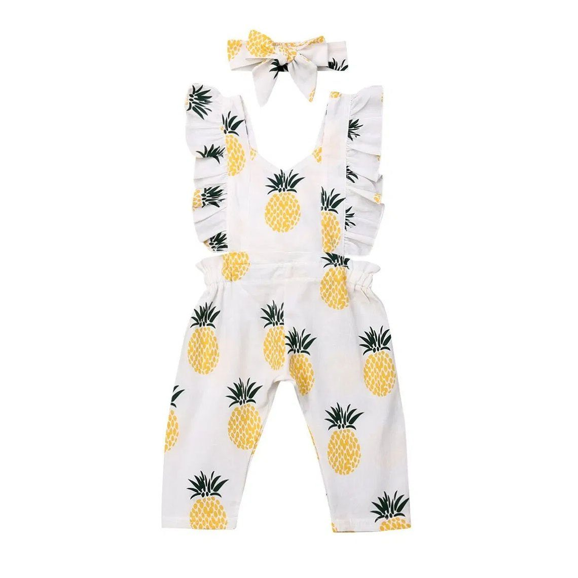 Pineapple Ruffled Jumpsuit - The Trendy Toddlers