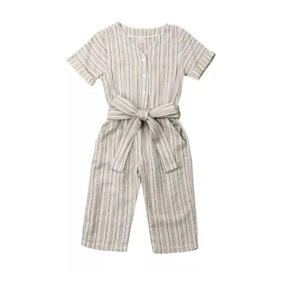 Short Sleeve Striped Jumpsuit