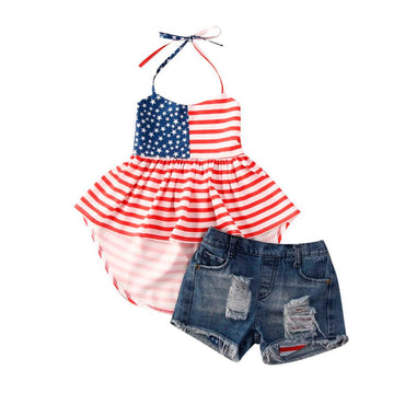 American Denim Shorts Set