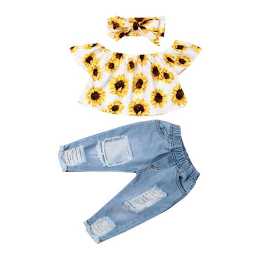 Sunflower Ripped Jeans Set - The Trendy Toddlers