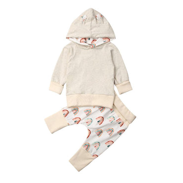 Beige Hooded Rainbow Set - The Trendy Toddlers