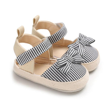 Striped Bowknot Sandals