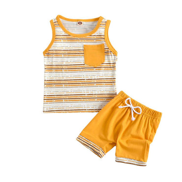 Yellow Pocket Striped Set