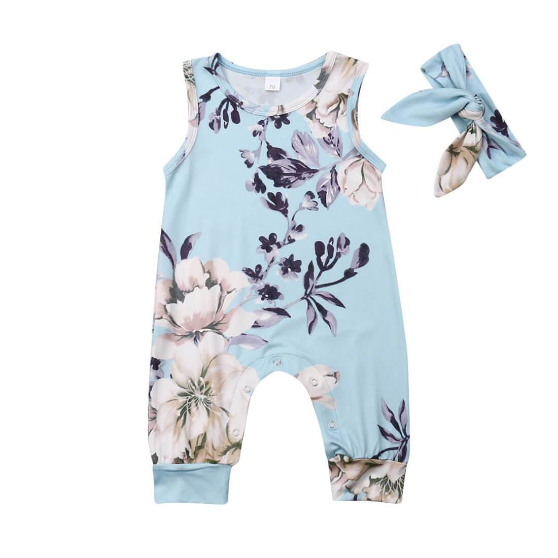 Blue Floral Jumpsuit - The Trendy Toddlers