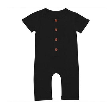 Black Short Sleeve Jumpsuit - The Trendy Toddlers