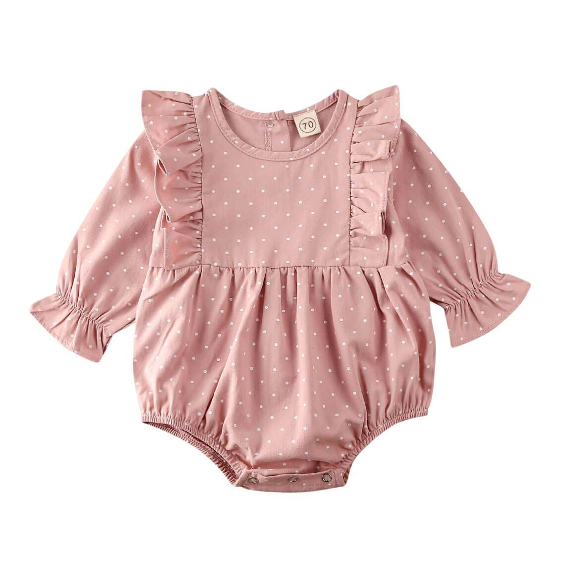Pink Dot Ruffled Romper