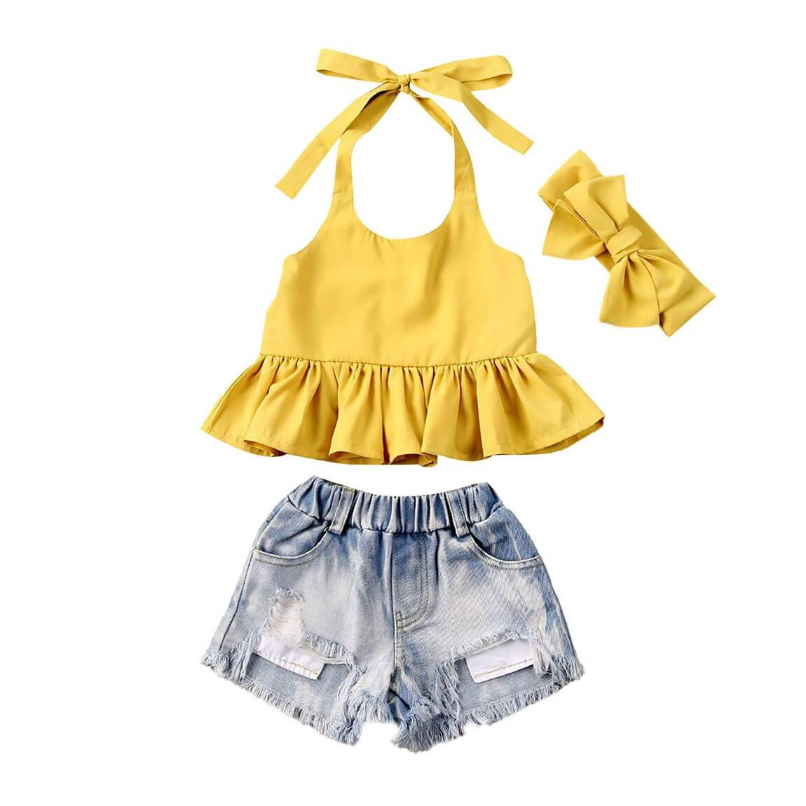 Ruffled Yellow Denim Set