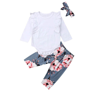 White Ruffle Floral Set