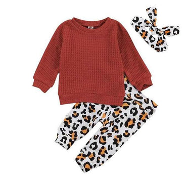 Solid Sweater Leopard Set