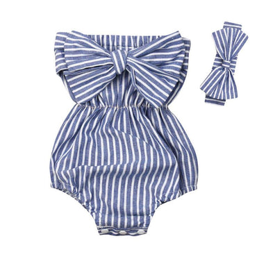 Striped Bow Off Shoulder Romper - The Trendy Toddlers