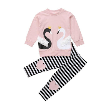 Pink Swan Striped Set