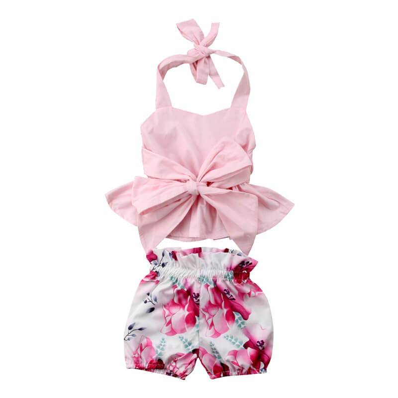 Pink Bow Floral Set - The Trendy Toddlers