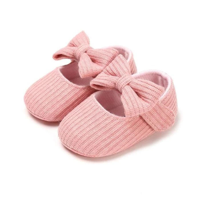 Pink Solid Bow Shoes