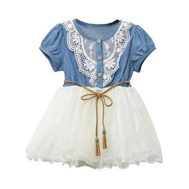 Lace Denim Tulle Dress