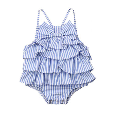 Blue Stripe Ruffled Romper
