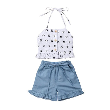 Straps Ruffled Denim Set - The Trendy Toddlers