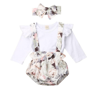 White Floral Suspender Set - The Trendy Toddlers