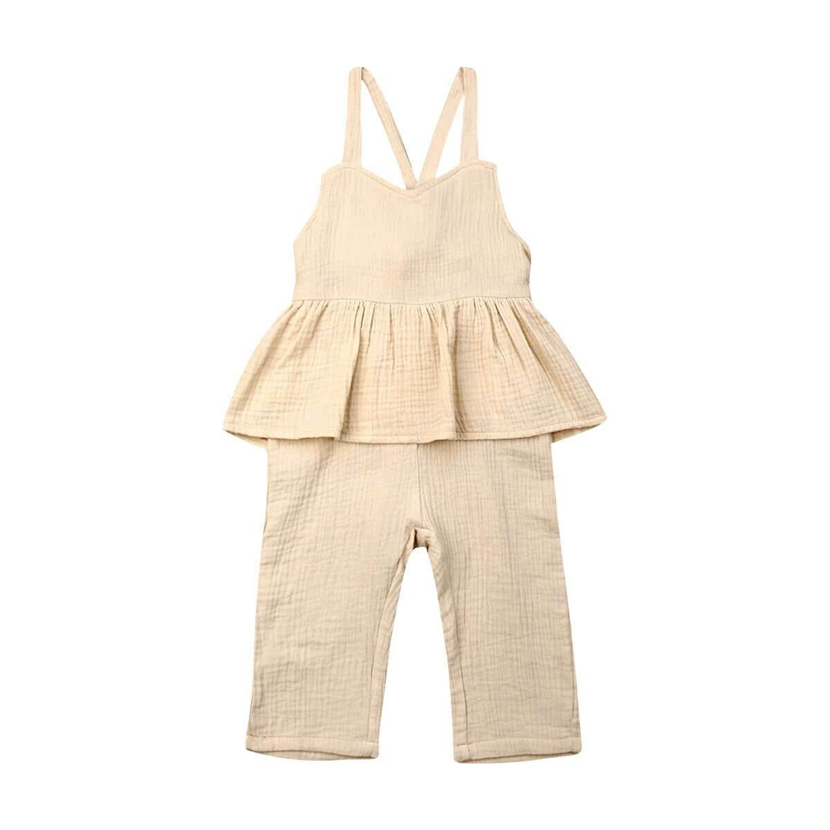 Linen Ruffled Solid Jumpsuit - The Trendy Toddlers