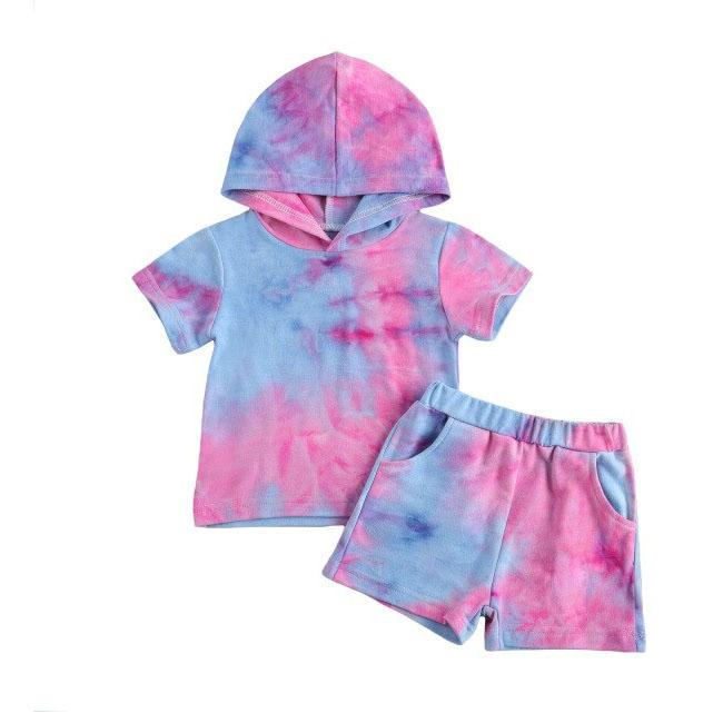 Tie Dye Shorts Hooded Set
