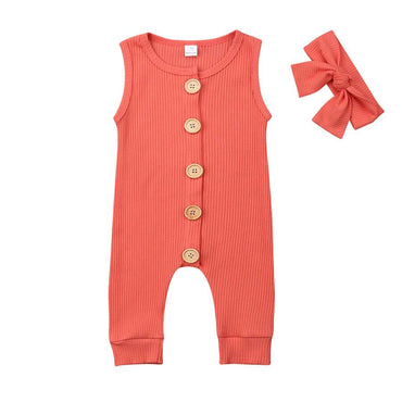 Solid Buttons Jumpsuit - The Trendy Toddlers