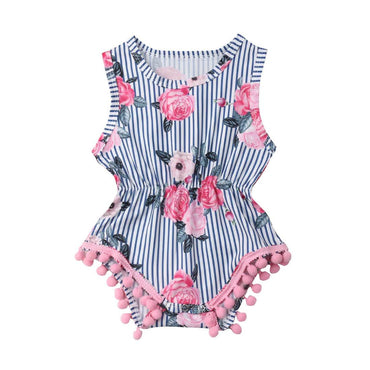 Floral Stripe Pom Pom Romper - The Trendy Toddlers