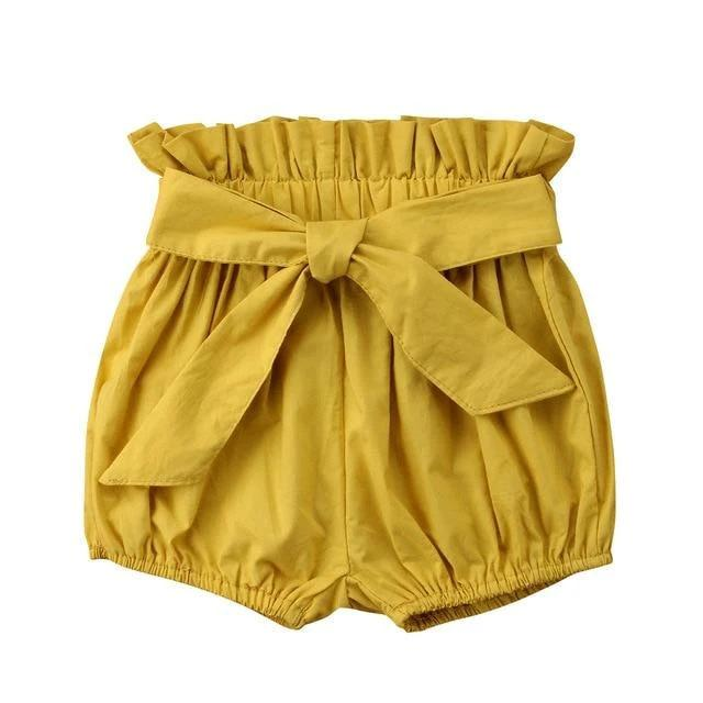 Mustard Tie Bloomer Shorts