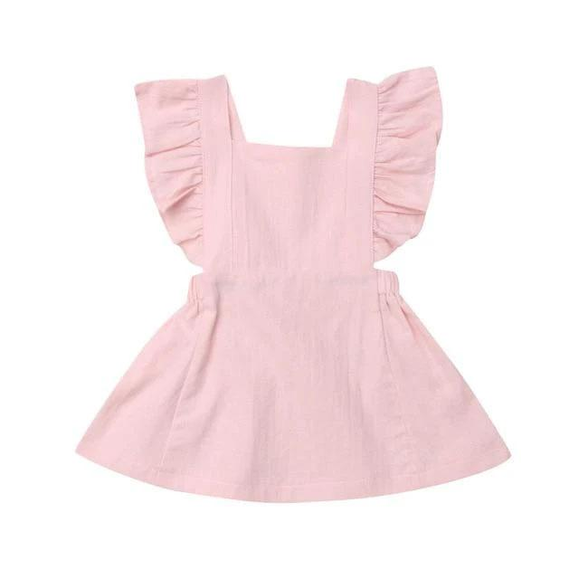 Pink Ruffle Solid Dress