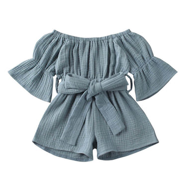 Solid Off Shoulder Romper - The Trendy Toddlers