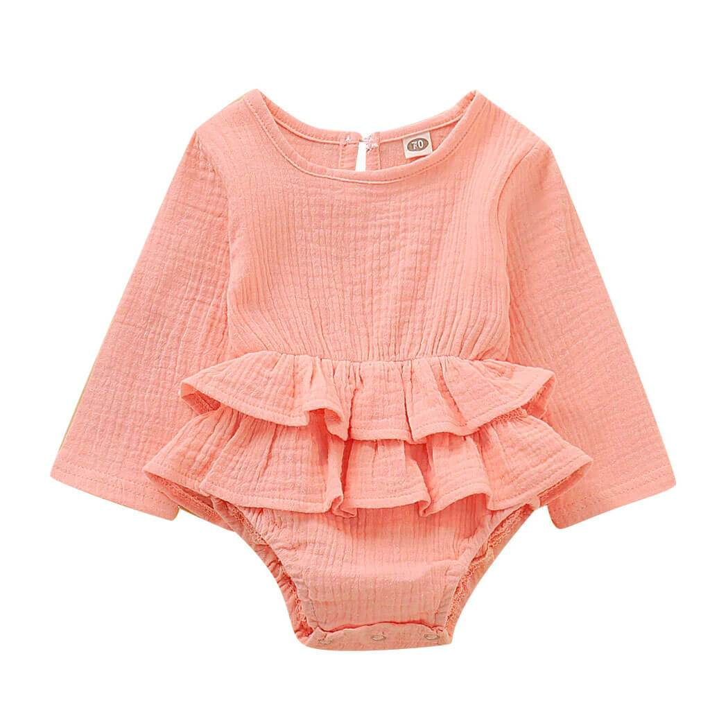 Long Sleeve Solid Ruffle Romper