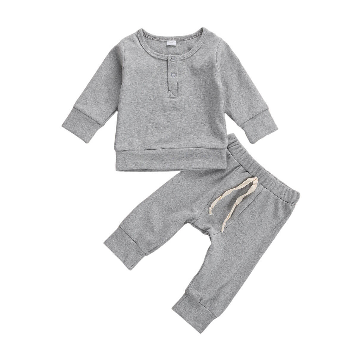 Solid Button Sweatshirt Set