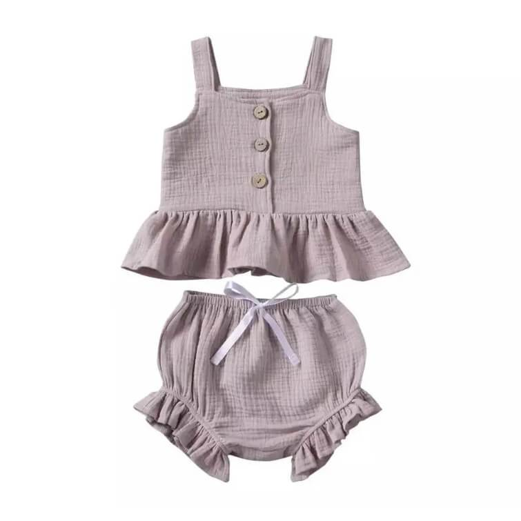 Solid Ruffled Set - The Trendy Toddlers